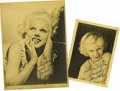"Movie/TV Memorabilia:Autographs and Signed Items, Jean Harlow Vintage Photos Signed by Mama Jean. A pair of vintage b&w promo photos of Jean Harlow, one 5"" x 7"" and one 7.5"" ... (Total: 1 Item)"