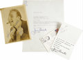 "Movie/TV Memorabilia:Autographs and Signed Items, Jimmy Durante Signed Letter and Photo. A typed letter on personalstationery, dated February 14, 1971, and a b&w 5"" x 7"" pho...(Total: 1 Item)"