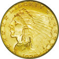 Indian Quarter Eagles: , 1925-D $2 1/2 MS66 PCGS. Variegated swirls of mint-green, orange-gold, and crimson-copper shades adorn both sides of this c...