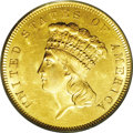 Three Dollar Gold Pieces: , 1855 $3 MS63 PCGS. The 1855 is one of the more easily obtainablethree dollar gold pieces in About Uncirculated and low Min...
