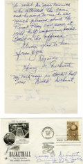Basketball Collectibles:Balls, Dutch Dehnert Signed Ephemera Lot of 2. Known from his time with the Original Celtics, Basketball Hall of Famer Dutch Dehne...