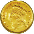 Three Dollar Gold Pieces: , 1878 $3 MS63 PCGS. A lustrous apricot-gold type coin with only ahint of striking incompleteness on Liberty's eyebrow and o...