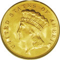 Three Dollar Gold Pieces: , 1878 $3 MS63 PCGS. Nicely struck with an appealing satiny sheen andlemon-yellow highlights. The obverse, if considered sep...