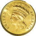 Three Dollar Gold Pieces: , 1879 $3 MS64 PCGS. Mint State 1879 three dollar coins arerelatively numerous, seemingly from pieces that left the Mintand...