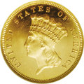 Three Dollar Gold Pieces: , 1879 $3 MS65 ★ Prooflike NGC. The brilliant, luscious prooflikefields provide stark black-on...