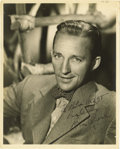 "Movie/TV Memorabilia:Autographs and Signed Items, Bing Crosby Signed Photo. A b&w 8"" x 10"" photo of the singer and actor, inscribed and signed by him in black ink. In Very Fi... (Total: 1 Item)"