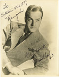 """Movie/TV Memorabilia:Autographs and Signed Items, Bob Hope Signed Photo. A b&w 8"""" x 10"""" photo of the comedic actor, inscribed and signed by him in black ink. In Very Fine con... (Total: 1 Item)"""