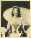 "Movie/TV Memorabilia:Autographs and Signed Items, Dinah Shore Signed Photo. A b&w 8"" x 10"" photo of the singerand actress, signed by her in black ink. In Very Fine condition...(Total: 1 Item)"