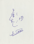 "Movie/TV Memorabilia:Original Art, Vincent Price Signed Sketch. An 8.5"" x 11"" self-portrait sketch inblue ink, drawn and signed by Vincent Price. In Excellent...(Total: 1 Item)"