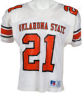 Football Collectibles:Uniforms, 1986-88 Barry Sanders Game Worn Oklahoma State Cowboys Jersey, MEARS A10....