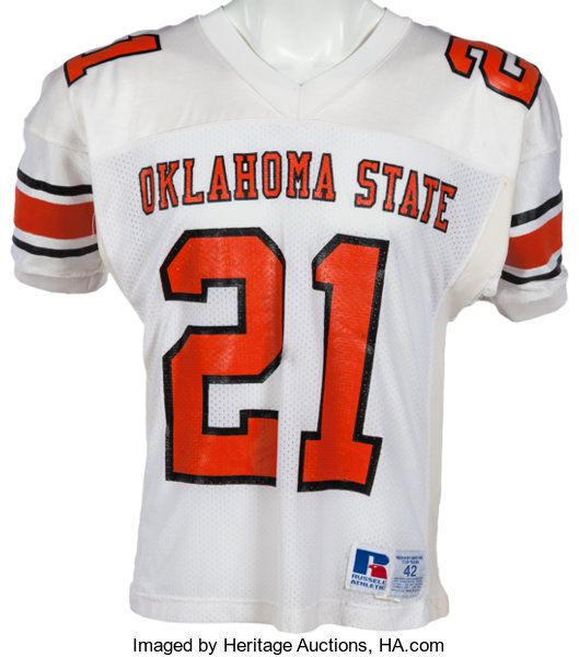 7ef5059c 1986-88 Barry Sanders Game Worn Oklahoma State Cowboys Jersey,   Lot ...