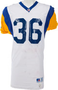 Football Collectibles:Uniforms, 1993 Jerome Bettis Game Worn, Signed Los Angeles Rams Rookie Jersey, MEARS A10 - Three Team Repairs!...