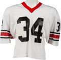 Football Collectibles:Uniforms, 1981-82 Herschel Walker Game Worn Georgia Bulldogs Jersey, MEARS A10 - Heavy Wear and Multiple Team Repairs!...