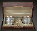 Silver Holloware, American:Open Salts, A PAIR OF AMERICAN SILVER AND SILVER GILT OPEN SALTS WITH ORIGINALCASE, Starr & Marcus, New York, New York, circa 1870. Mar...(Total: 3 Items)