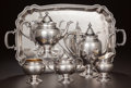 Silver Holloware, American:Other , A FIVE PIECE AMERICAN SILVER AND SILVER GILT TEA & COFFEESERVICE AND ASSOCIATED PERUVIAN SILVER TRAY, Gorham Manufacturing... (Total: 6 Items)
