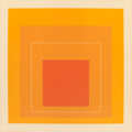 Fine Art - Work on Paper:Print, JOSEF ALBERS (American, 1888-1976). White Line Squares (Orange)VI, 1966. Lithograph in colors. 18-1/8 x 18-1/8 inches (...