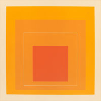 JOSEF ALBERS (American, 1888-1976) White Line Squares (Orange) VI, 1966 Lithograph in colors 18-1