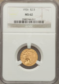 Indian Quarter Eagles: , 1926 $2 1/2 MS62 NGC. NGC Census: (5908/8401). PCGS Population(3113/6511). Mintage: 446,000. Numismedia Wsl. Price for pro...