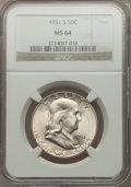 Franklin Half Dollars: , 1951-S 50C MS64 NGC. NGC Census: (736/1171). PCGS Population(1626/1617). Mintage: 13,696,000. Numismedia Wsl. Price for pr...