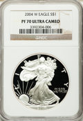 Modern Bullion Coins, 2004-W $1 Silver Eagle PR70 Ultra Cameo NGC. NGC Census: (9469).PCGS Population (2716). Numismedia Wsl. Price for problem...
