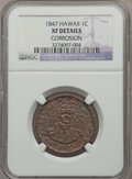Coins of Hawaii, 1847 1C Hawaii Cent -- Corrosion -- NGC Details. XF. NGC Census:(4/272). PCGS Population (12/373). Mintage: 100,000....