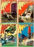 Books:Science Fiction & Fantasy, [Pulps]. Four Issues of Amazing Stories, Vol. 1, Nos. 10-13. 1927. Original printed wrappers, three rebacked. S... (Total: 4 Items)