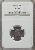 Bust Dimes: , 1823/2 10C Small Es MS64 NGC. NGC Census: (20/8). PCGS Population(8/3). Mintage: 440,000. Numismedia Wsl. Price for proble...