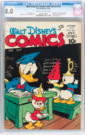 Golden Age (1938-1955):Cartoon Character, Walt Disney's Comics and Stories #37 (Dell, 1943) CGC VF 8.0 Cream to off-white pages....
