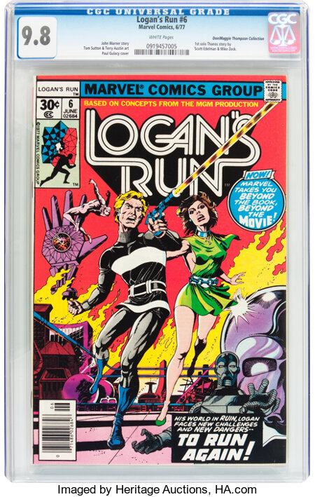 Logan's Run #6 Don/Maggie Thompson Collection pedigree (Marvel, 1977) CGC NM/MT 9.8 White pages....