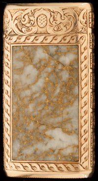 AN AMERICAN 14K GOLD AND GOLD QUARTZ MATCH SAFE, ATTRIBUTED TO SHREVE & CO., San Francisco, California, circa 19...