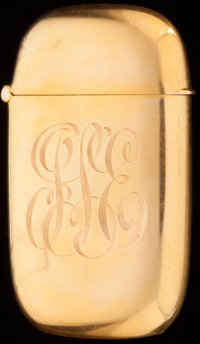 A CARTER, HOWE & CO. 14K GOLD MATCH SAFE, New York, New York, circa 1900 Marks: C (within arrow), 14