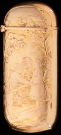 Silver Smalls:Match Safes, AN AUSTRIAN 14K GOLD MATCH SAFE, 19th century. Marks:(indistinguishable mark), JO. 1-7/8 inches high (4.6 cm).0.45 tro...
