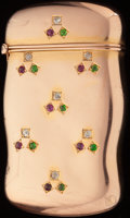 Silver Smalls:Match Safes, A FAIRCHILD 14K GOLD, DIAMOND, RUBY AND DEMANTOID GARNET MATCH SAFE, New York, New York, circa 1900. Marks: F, 14K. 2-1/...