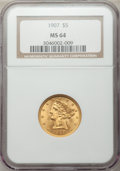 Liberty Half Eagles: , 1907 $5 MS64 NGC. NGC Census: (951/178). PCGS Population (708/108).Mintage: 626,192. Numismedia Wsl. Price for problem fre...