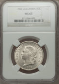 Colombia, Colombia: Republic 50 Centavos 1902 MS65 NGC,...