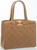 Luxury Accessories:Bags, Chanel Beige Quilted Lambskin Leather Tote Bag with Gold Hardware ....