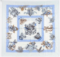 "Luxury Accessories:Accessories, Hermes Blue & Cream ""Confidents des Coeurs,"" by Loic DubigeonSilk Scarf. ..."