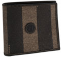 Luxury Accessories:Accessories, Fendi Brown Striped Waxed Canvas Bifold Wallet. ...