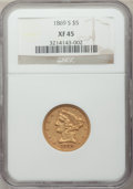 Liberty Half Eagles: , 1869-S $5 XF45 NGC. NGC Census: (16/47). PCGS Population (9/17). Mintage: 31,000. Numismedia Wsl. Price for problem free NG...