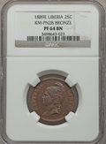 Liberia, Liberia: Republic Proof Pattern 25 Cents in bronze 1889-E PR64Brown NGC,...