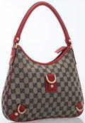 Luxury Accessories:Bags, Gucci Red Leather & Navy Monogram Canvas Shoulder Bag. ...