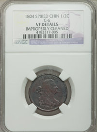 1804 1/2 C Spiked Chin -- Improperly Cleaned -- NGC Details. VF. C-6. NGC Census: (3/101). PCGS Population (4/35). Numis...