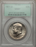 Kennedy Half Dollars: , 1971-D 50C MS67 PCGS. PCGS Population (192/3). NGC Census: (80/4).Mintage: 302,097,408. Numismedia Wsl. Price for problem ...