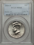 Kennedy Half Dollars, 2004-D 50C MS68 PCGS. PCGS Population (27/0). NGC Census: (12/0). Numismedia Wsl. Price for problem free NGC/PCGS coin in ...