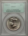 Kennedy Half Dollars: , 1992-D 50C MS67 PCGS. PCGS Population (150/3). NGC Census: (40/1).Mintage: 17,000,106. Numismedia Wsl. Price for problem f...