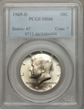 Kennedy Half Dollars: , 1969-D 50C MS66 PCGS. PCGS Population (133/6). NGC Census: (99/3).Mintage: 129,881,800. Numismedia Wsl. Price for problem ...