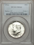 Kennedy Half Dollars: , 1964 50C MS66 PCGS. PCGS Population (979/33). NGC Census: (520/41).Mintage: 273,300,000. Numismedia Wsl. Price for problem...