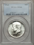 Kennedy Half Dollars: , 1965 50C MS66 PCGS. PCGS Population (107/13). NGC Census: (47/5).Mintage: 65,879,368. Numismedia Wsl. Price for problem fr...