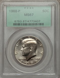 Kennedy Half Dollars: , 1988-P 50C MS67 PCGS. PCGS Population (56/0). NGC Census: (46/1).Mintage: 13,626,000. Numismedia Wsl. Price for problem fr...