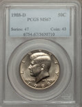 Kennedy Half Dollars: , 1988-D 50C MS67 PCGS. PCGS Population (168/1). NGC Census: (118/2).Mintage: 12,000,096. Numismedia Wsl. Price for problem ...